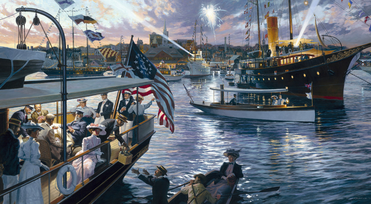 """Annual Cruise of the New York Yacht Club – 1911: Grand Illuminations at Station 4 – New London"""