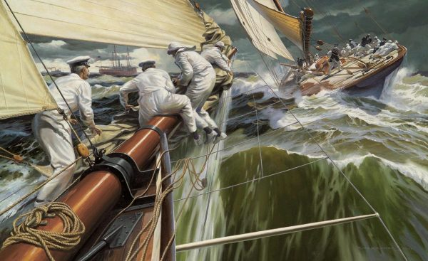 Painting of America's Cup defender Vigilant of 1893