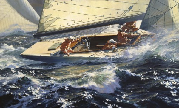 Painting of the yacht Weatherly by Russ Kramer defeender of the 1962 America's Cup