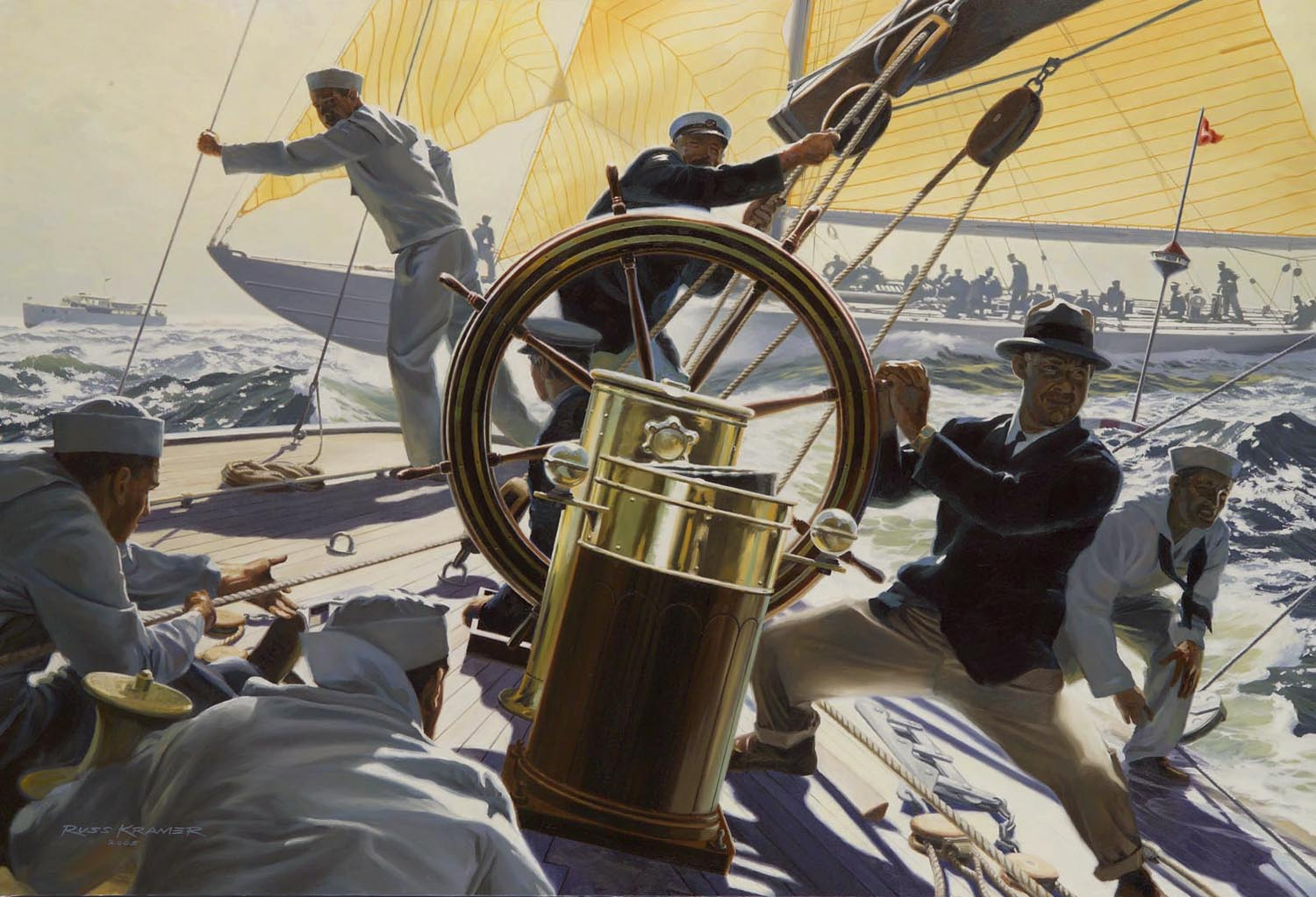 Painting by Russ Kramer of action aboard Weetamoe during trials of the America's Cup 1930