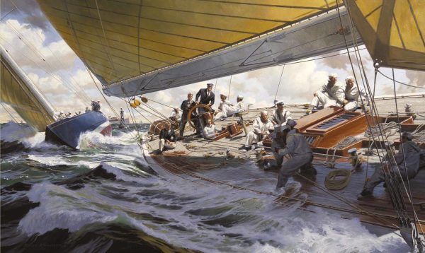 Painting by Russ Kramer of the yacht J-Boat Ranger defender of the 1937 America's Cup