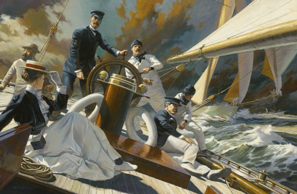 Painting by Russ Kramer of action onboard the Yacht Columbia defender of the America's Cup of 1899