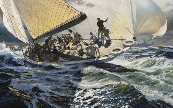 Painting of the Yacht Yankee by Russ Kramer challenging Rainbow in trials to defend the 1934 America's Cup