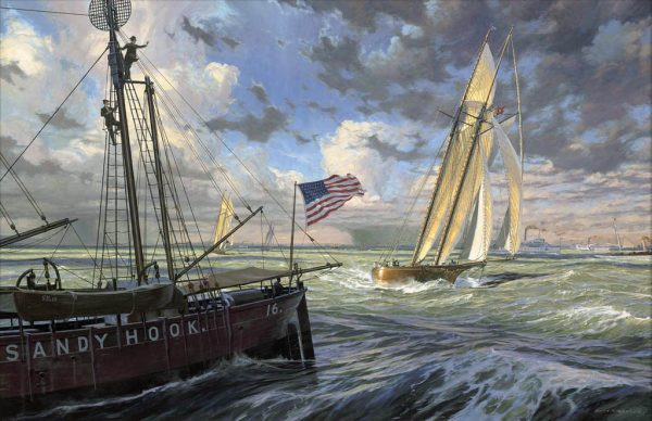 Painting of the yacht Madeleine by Russ Kramer, defender of the 1876 America's Cup