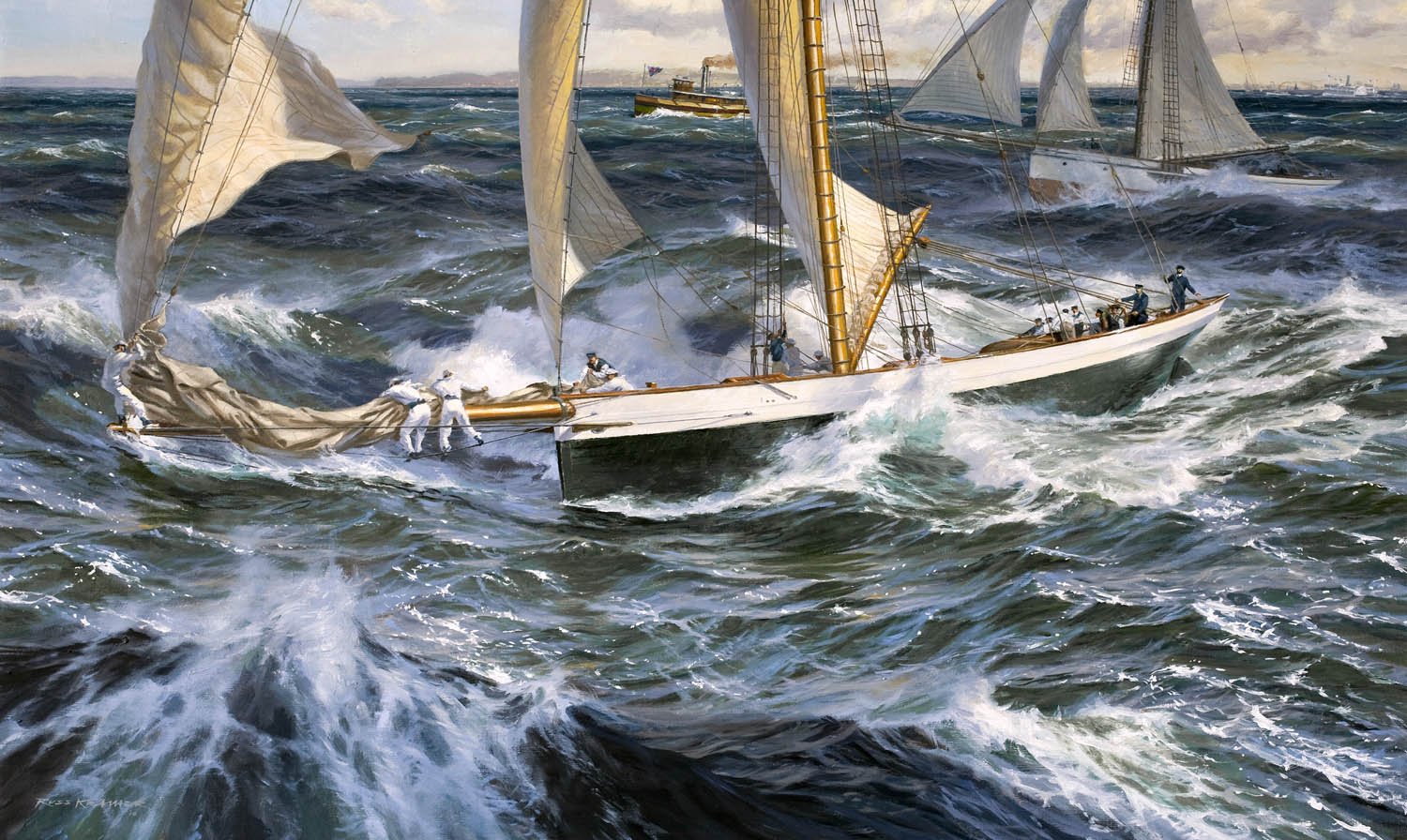 Oil Painting of the yacht Mayflower defender of the Americas Cup of 1886
