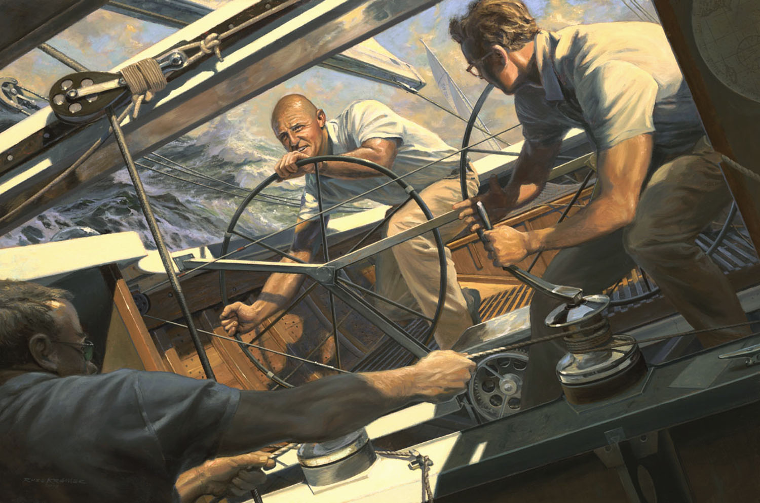 Painting by Russ Kramer of action onboard the yacht Intrepid defender of the 1970 America's Cup