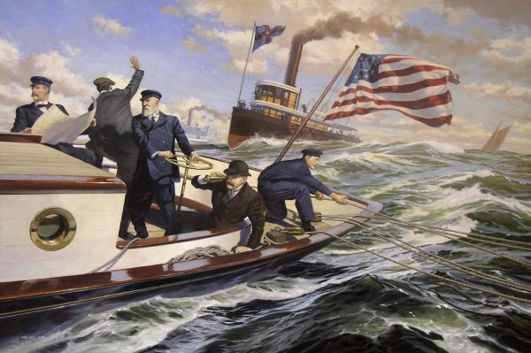 Oil painting of Mischief, defender of the 1881 America's Cup by Russ Kramer