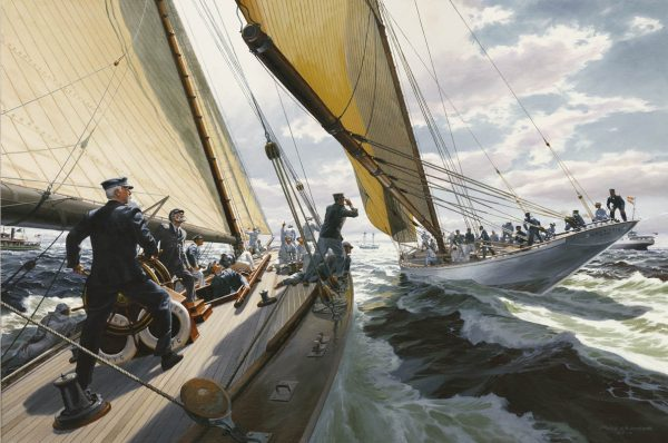 Painting of the yacht Defender, winner of the 1895 America's Cup challenge