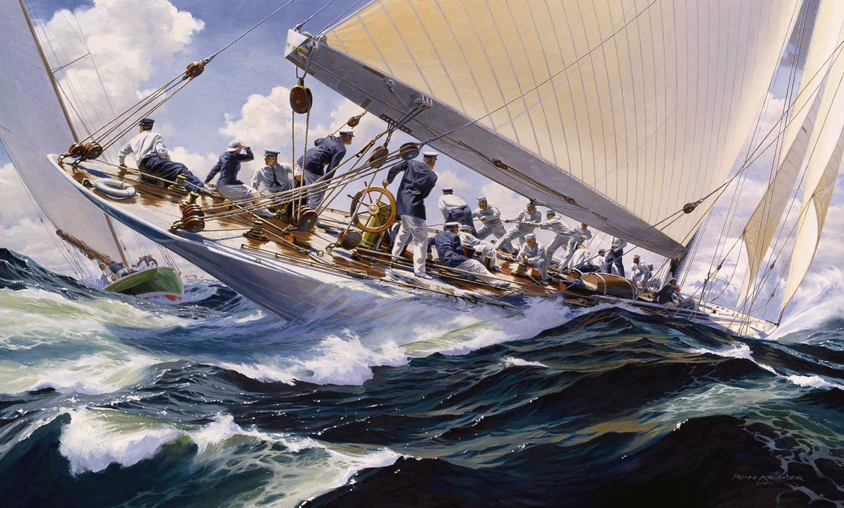 Painting of the yacht Enterprise, defender of the America's Cup 1930