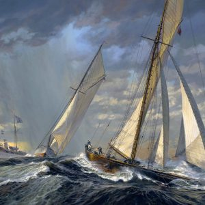 """VOLUNTEER And THISTLE: America's Cup Start 1887"""