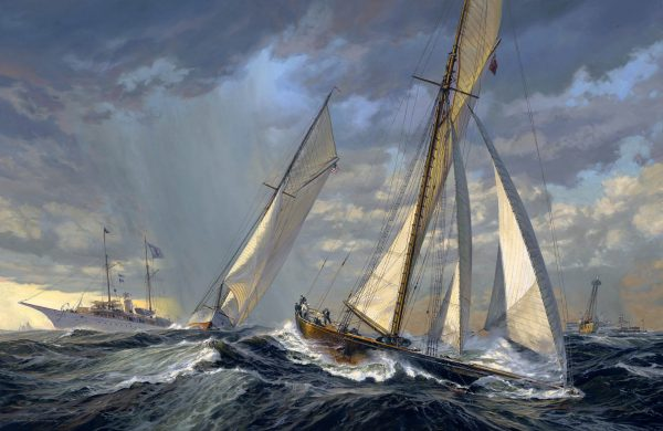 Fine Art Painting of Volunteer, defender of the America's Cup of 1887 afainst Thistle